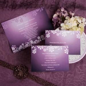 Purple wedding invites with damask